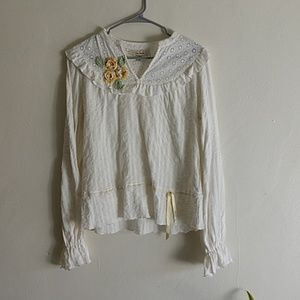 Free People Cotton Peasant Blouse Size 10